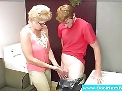 Blonde spex mature drools on hard cock